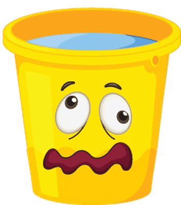 Buckets with Faces - Yellow, Scared | Clipart