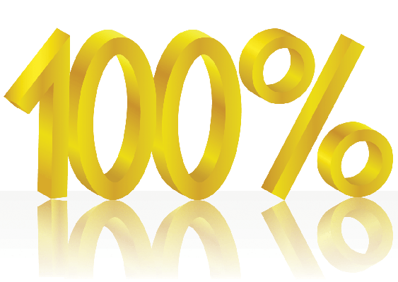 Gold One Hundred Percent | Clipart