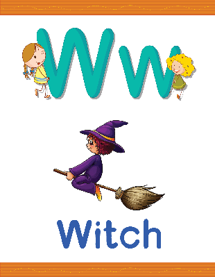 Alphabet Worksheets - W for Witch | Clipart