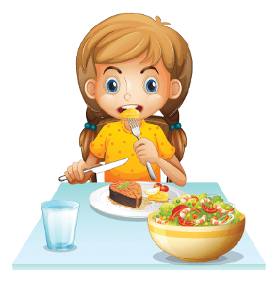 Young Girl Eating | Clipart