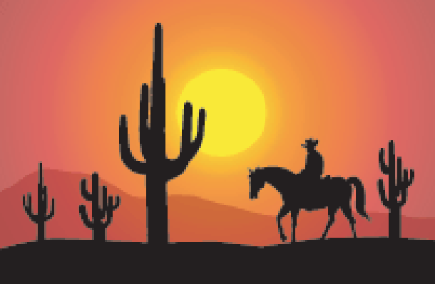 Sunset at Saguaro Desert-Vector | Clipart