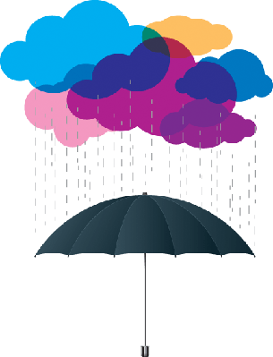 Clouds and Umbrellas | Clipart