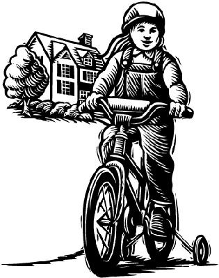 Bikes and Bicycles - Girl on Bike with Training Wheels | Clipart