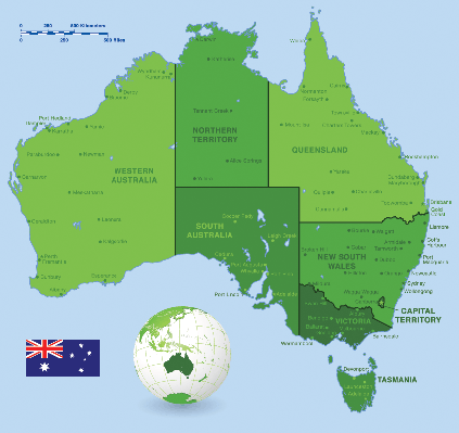 Australia Green Map Set | Clipart