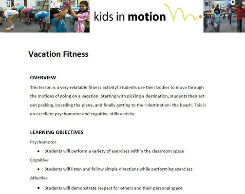 Vacation Fitness Lesson Plan