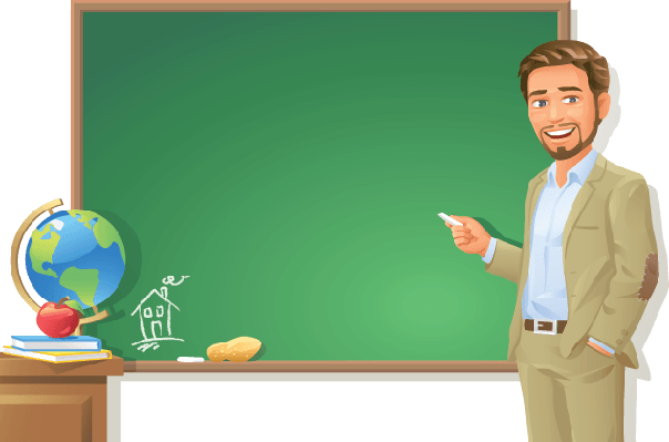 Teacher at Blackboard | Clipart
