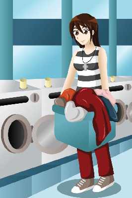 Young Woman Doing Laundry | Clipart