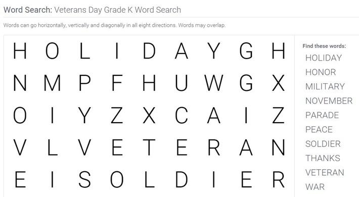 Veterans Day | Grade K Word Search