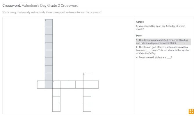 Valentine's Day | Grade 2 Crossword