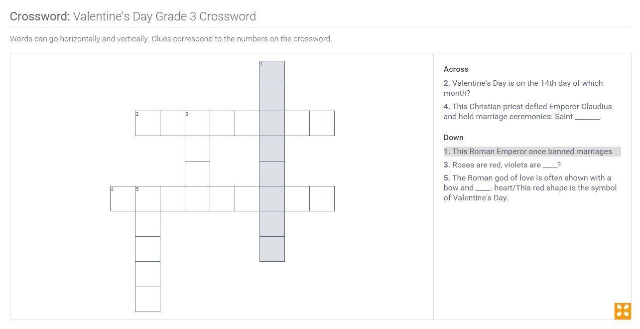 Valentine's Day   Grade 3 Crossword   PBS LearningMedia