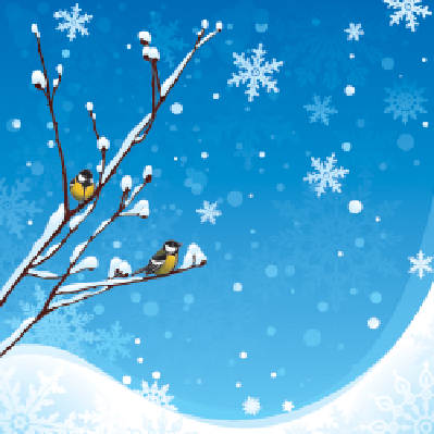 Four Seasons Scenery - Winter Birds | Clipart