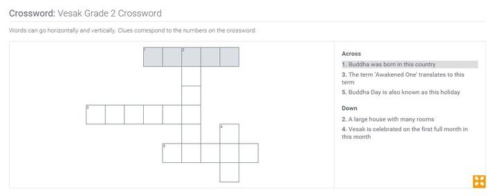 Vesak | Grade 2 Crossword