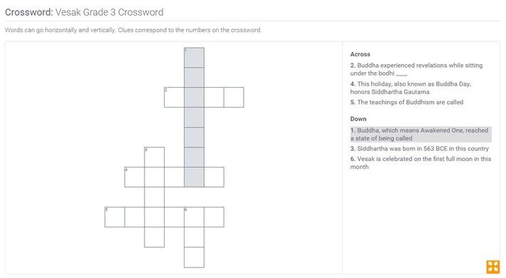 Vesak | Grade 3 Crossword