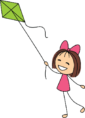 Cute Little Girl with Green Kite | Clipart
