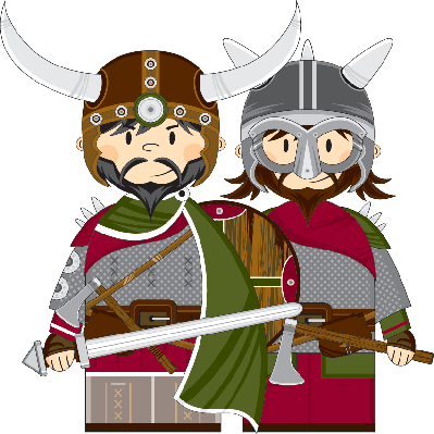 Cute Cartoon Viking Warriors | Clipart