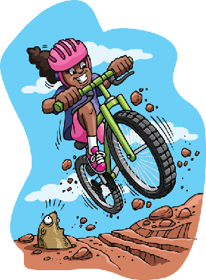 Bikes and Bicycles - Girl on Mountain Bike | Clipart