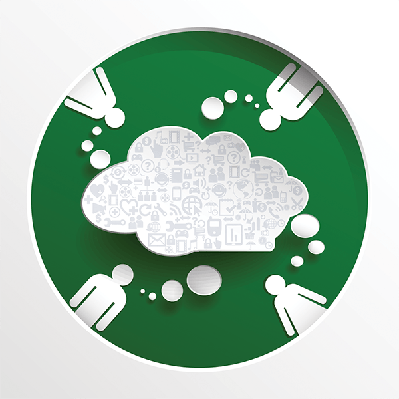 Speech Bubble With People on Circle Green Background (#2) | Clipart