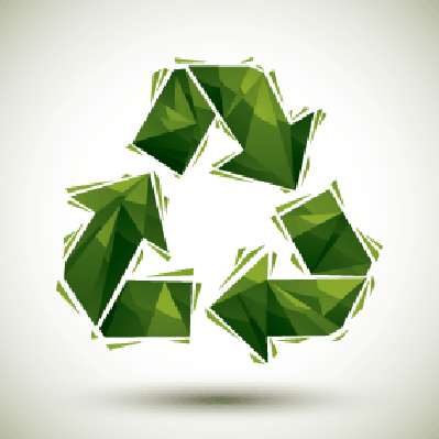 Green Recycle Geometric Icon Made in 3D Modern Style | Clipart