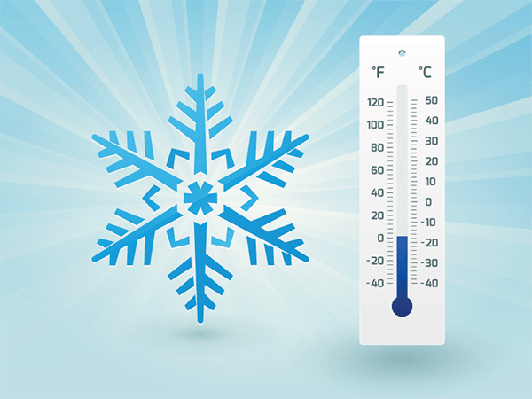 Snowflake With a Thermometer on Frost | Clipart
