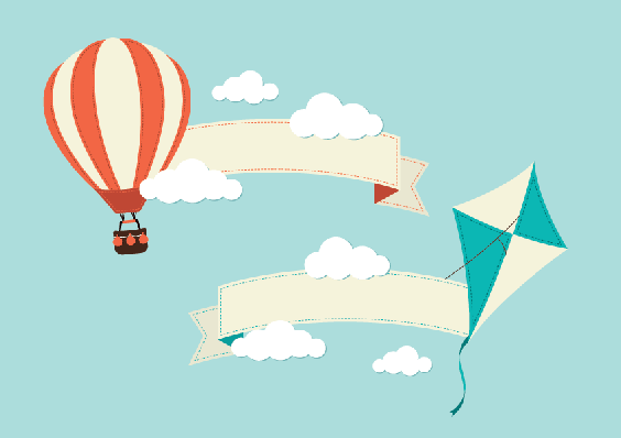 Banners with Hot Air Balloon and Kite | Clipart