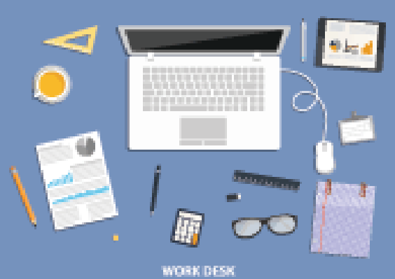 Workspace, Flat Desktop Design with Business Icons | Clipart