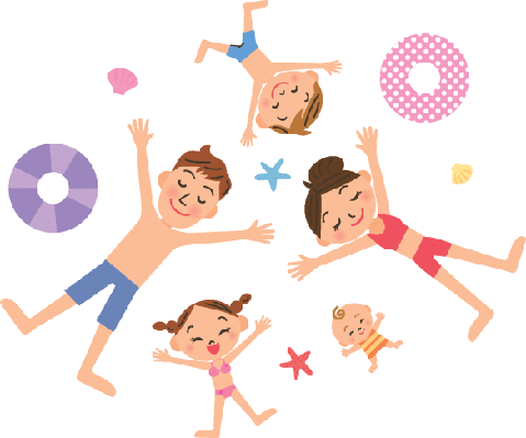 The Family Who Lies at Full Length With a Swimsuit | Clipart