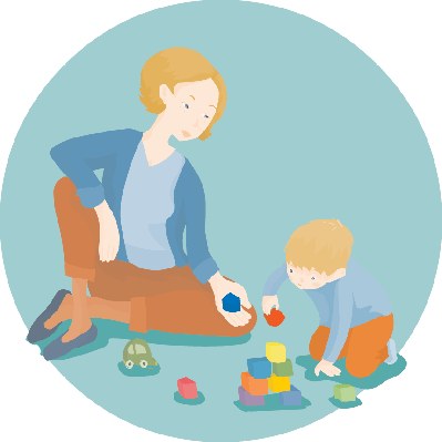 Mom and Son Playing With Building Blocks | Clipart