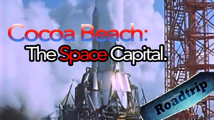 Color photo of missile launch in Cape Canaveral on Cocoa Beach.
