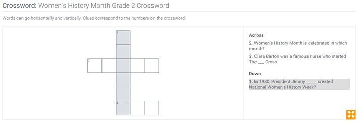 Women's History Month | Grade 2 Crossword