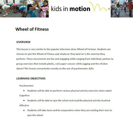 Wheel of Fitness Lesson Plan