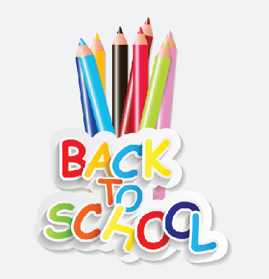 Back to School Concept (colored pencils on white background) | Clipart