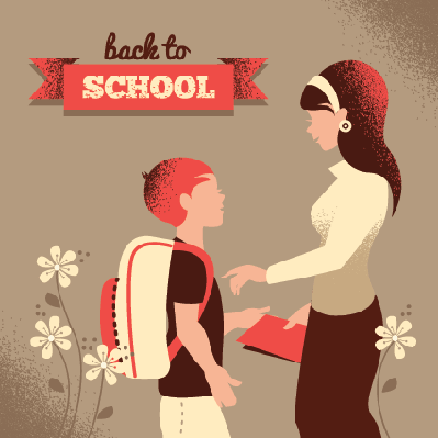Vintage Silhouette of Teacher and Student | Clipart