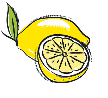 Set of Fruits: Lemon, Grapes, Fig, Papaya, Coconut, Currant | Clipart