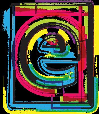 Colorful Grunge Font Letter E | Clipart