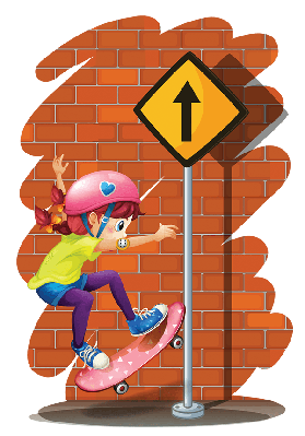 Girl Skateboarding Near the Signboard | Clipart