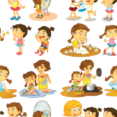 Seamless Kids Helping | Clipart