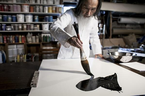 Tanahashi Paints in his Studio   Global Oneness Project