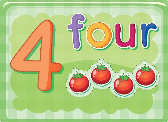 Number Cards - Four | Clipart