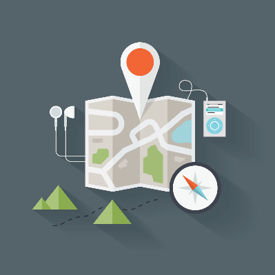 Route Map Flat Illustration | Clipart