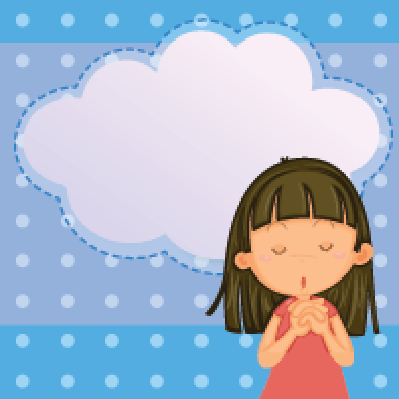 Card Template with a Young Girl | Clipart