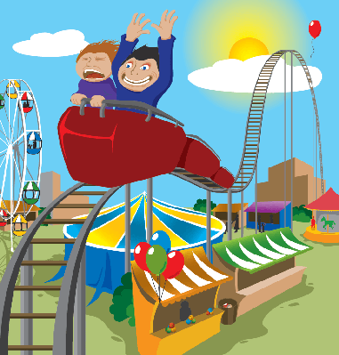 Two Children Riding Rollercoaster | Clipart