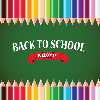 Back to School Concept (colored pencils in rows) | Clipart