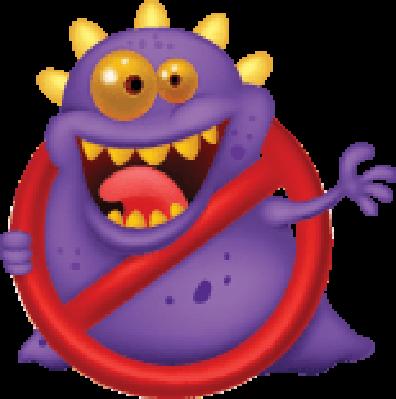 Cartoon Stop Virus: Purple Virus in Red Alert Sign | Clipart
