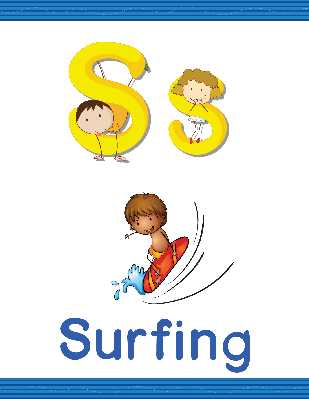 Alphabet Worksheets - S for Surfing | Clipart