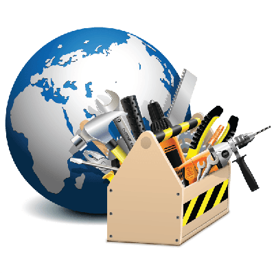 Toolbox with Globe | Clipart
