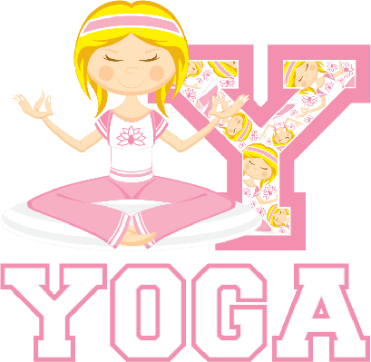 Cute Yoga Girl Learning Letter Y | Clipart