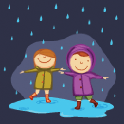 Cute Little Girls Wearing Raincoats and Enjoying Rain | Clipart