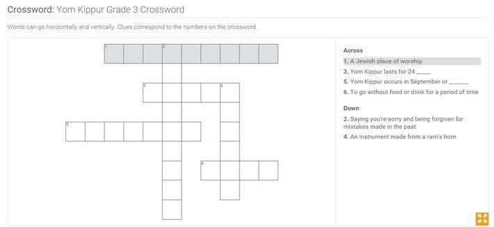 Yom Kippur | Grade 3 Crossword