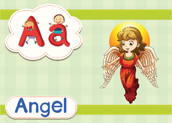 Vocabulary Cards - A for Angel | Clipart