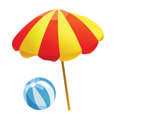 Baby Items on the Beach - Beach Ball and Umbrella | Clipart